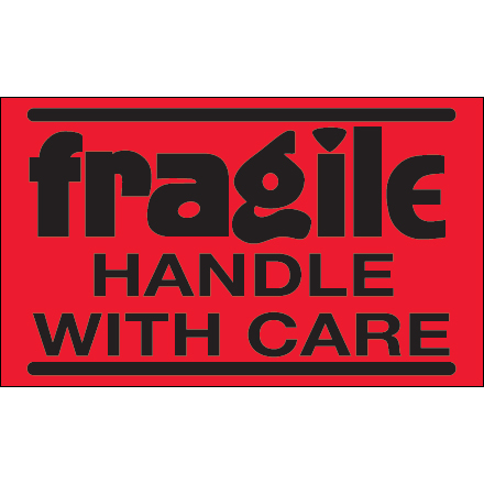 "3 x 5"" - ""Fragile - Handle With Care"" (Fluorescent Red) Labels"