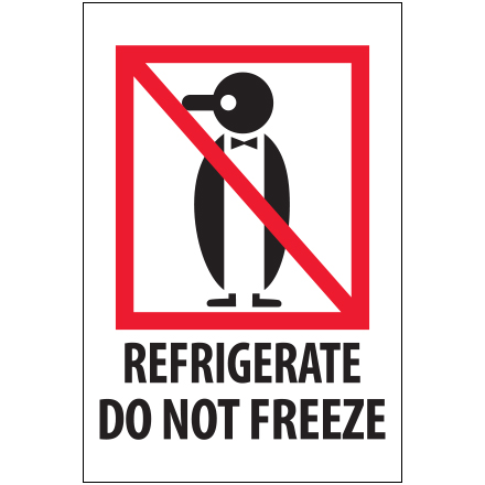 "4 x 6"" - ""Refrigerate - Do Not Freeze"" Labels"