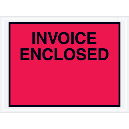 "4 <span class='fraction'>1/2</span> x 6"" Red ""Invoice Enclosed"" Envelopes"
